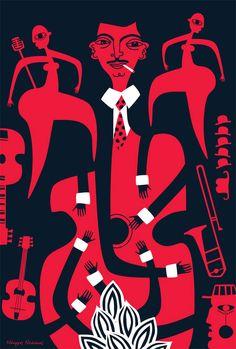 "polkadot-design: "" Swing Jazz Participation in Swink project - Poster Exhibition. Inspired by Django Reinhardt. Illustration by Nearchos Ntaskas "" Cover Design, Art Design, Jazz Club, Design Graphique, Art Graphique, Swing Jazz, Django Reinhardt, Gypsy Jazz, Illustrator"