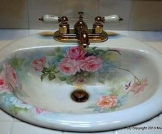 Sweet Cottage Roses. I would like to try this in my guest bath. The sink is…