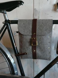 Flux felt and leather bicycle bag