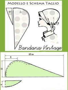 Bandana: types and patterns to them // Залия Курбанова Sewing Hacks, Sewing Tutorials, Sewing Crafts, Sewing Projects, Sewing Clothes, Diy Clothes, Costura Vintage, Scrub Hat Patterns, Diy Hat