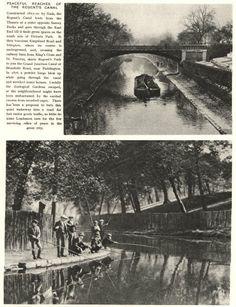 "Captioned: ""Magazine print of photos taken at #Regents Park & the entrance to #Cumberland #Basin"" #regents #canal #narrowboat #barge #london"