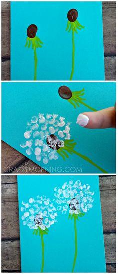 Fingerprint Dandelion Craft + Card Idea for Kids to Make! | CraftyMorning.com