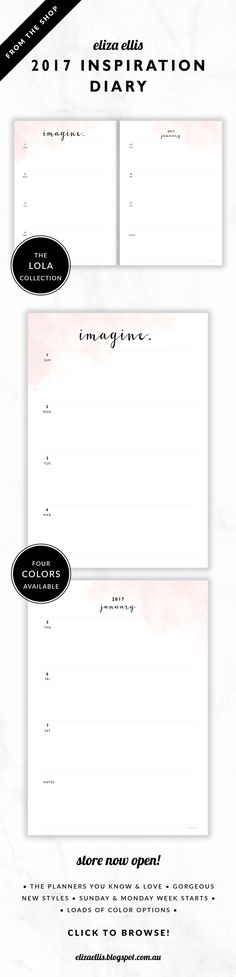 2017 Weekly Diary Planner // The Lola Collection by Eliza Ellis. Delicate watercolor design with pretty hand drawn calligraphy font. Bonus matching planner covers and annual calendar included. Available in 4 colors – lilac, viola, snowdrop and peony. Monday and Sunday week starts included. Documents print to A4 or A5.