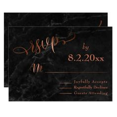 Elegant Copper Script w/ Black Marble Wedding RSVP Card
