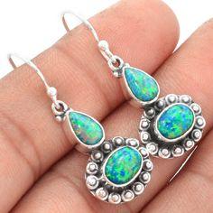 Fire-Opal-Lab-925-Sterling-Silver-Earrings-Jewelry-SE66769
