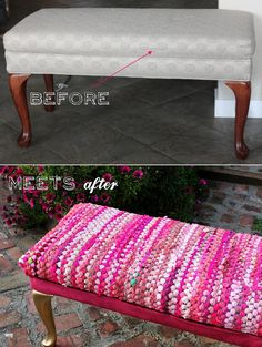 bench #refashion with rug #HOMEdecor