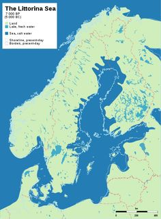 File:Baltic History The Ancylus Lake, 9 500 - 8 000 years before present 500 - 6 000 BC). Shows post-glacial rebound and shore displacement of the Baltic Sea. European History, Ancient History, Lappland, Fantasy Map, Alternate History, Historical Maps, Old Maps, Baltic Sea, Culture