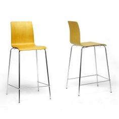 This on-trend bar stool blends sturdy molded plywood with equally d...