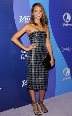 Jessica Alba in Christian Dior Houndstooth