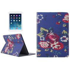 For+iPad+Air+Peony+Pattern+Smart+Cover+PU+Leather+Case+with+Card+Slots