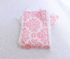 Pink & White Damask Burp Cloth by Sewingdreamsnotions