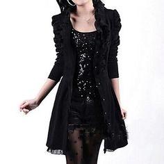 vestido de manga larga de las mujeres de la colmena del remiendo del cordón negro delgado – USD $ 33.14
