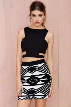 Hypnotize Textured Skirt