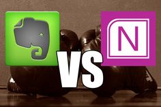 Comparison of Evernote vs OneNote, going over the pros and cons of each in the following categories: Cost, Interface, Features, and Platforms.