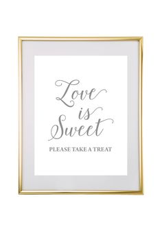 Free Printable Love is Sweet Wedding Sign - perfect for a wedding dessert table from @chicfettiwed