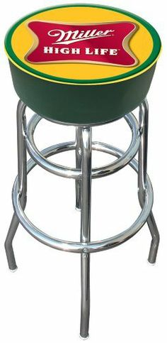 Trademark Miller High Life logo padded bar stool by Trademark Global. $79.74. Chrome plated double rung base. Officially Licensed logo. adjustable levelers. 7.5 in X 14.75 in diameter padded commercial grade vinyl seat. Great for gifts and recreation decor. The officially licensed Miller High logo padded bar stool will be the highlight of your bar and gameroom. A 30-inch high bar stool great for bar pub table and bars. Great for gifts and recreation decor.