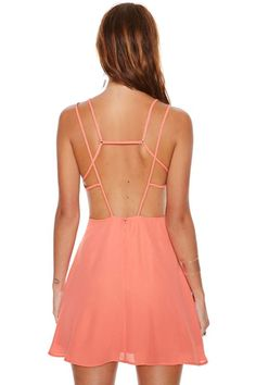 strappy back coral dress