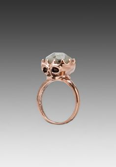 House of Harlow Stone Top Skull Cocktail Ring in Rose Gold Gemstone Jewelry, Jewelry Rings, Jewelery, Jewelry Accessories, Fine Jewelry, Body Jewelry, Sapphire Color, Black Sapphire, Diamond Bands