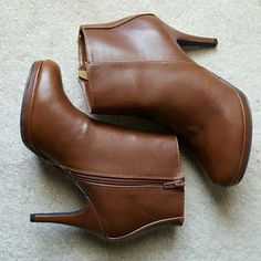Round Toe Bootie Heels Round Toe Bootie Heels with side zipper. Gently worn. Heel height approx. 4 inch. Very small nick on top of right boot (pictured). City Classified from Charlotte Russe City Classified  Shoes Ankle Boots & Booties