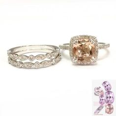 Cushion Morganite Engagement Ring Trio Sets Pave Diamond Wedding 14K White Gold 8mm  Art Deco Band