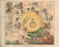 """""""Plan of the Road from the City of Destruction to the Celestial City"""" from the 1833 edition of """"The Pilgrim's Progress."""" Click on image to view enlarged version."""