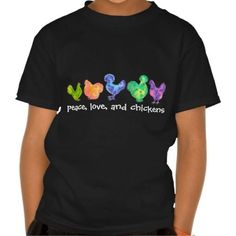 (peace love and chickens kids shirt) #Birds#Chickens#Designs#Dye#Hen#Tye#Watercolor is available on Funny T-shirts Clothing Store   http://ift.tt/2axGsSW