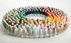 300 Colored Vases by Hella Jongerius: Each vase was fired three times under a unique mix of 100 natural mineral glazes and 100 synthetic materials, yielding remarkably deep textures and vibrantly merged colour combinations that are reminiscent of the colour intensities of old paintings. Produced by Koninklijke Tichelaar Makkum