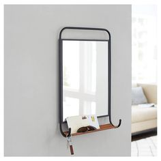Tubular Metal Mirror with Shelf - Threshold™. Image 2 of 2.