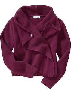 I think Miriam would like this (girls size 10 / 12) wine color Girls Wrap-Front Cardigans