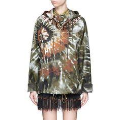 Valentino Masai bead embroidery tie dye print hooded jacket ($9,875) ❤ liked on Polyvore featuring tops, hoodies, embroidered top, camouflage top, tribal hoodies, camo top and embroidery top