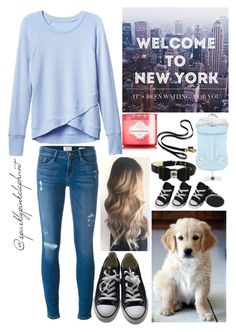"""""""Welcome to NY- (twinning with my pup)"""" by sparklypinkelephant ❤ liked on Polyvore featuring Converse, POLICE, Athleta and Frame"""