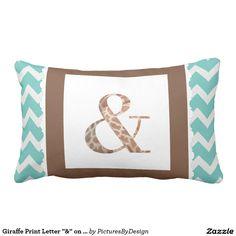 """Giraffe Print Letter """"&"""" on Mint/White Chevron Pillow"""