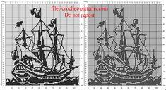 The sailing ship painting pattern free crochet filet