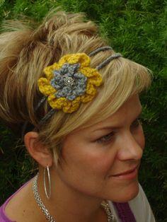 Gold/gray  crocheted flower 2 strand headband by HeadsUpFashion