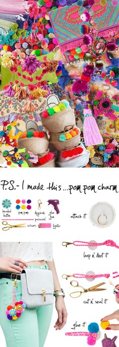"You know we love to get our pom pom on…these colorful puffs of joy provide endless possibilities; and this time we got creative by applying them to a beaded button base to create charms that give off some serious flower power. Used as a keychain or to add a punch of personality to a neutral accessory, this creation will leave you chic & cheerful! To create: Attach a jump ring to the back of a beaded button. Loop a piece of paracord (approx. 24"" long) with a keychain through the jump ring…"