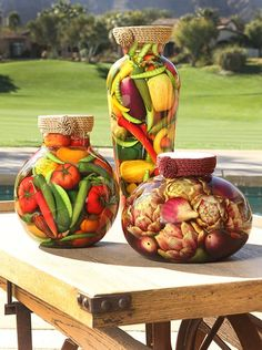 Decorate your home, restaurant or hotel with Tuscan glass jars by Sarabella. Tuscan Art, Tuscan Style, Tuscan Design, Bottles And Jars, Glass Jars, Tuscany Kitchen, Fruit Centerpieces, Olive Oil And Vinegar, Outdoor Restaurant