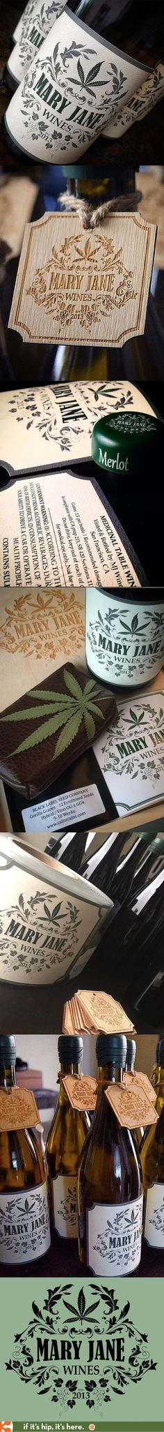 Nice logo, labels and branding for Mary Jane cannabis-infused table wines.