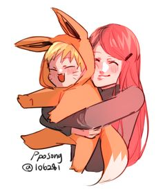 It's snowing so I thought I'd draw something So enjoy this baby Naruto being squeezed by mommy Kushina
