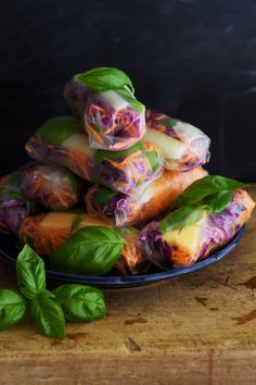 Melon Basil Summer Rolls with Tamarind Dipping Sauce by golubkakitchen #Summer_Rolls #Melon #Basil #Tamarind #Healthy #Lilght