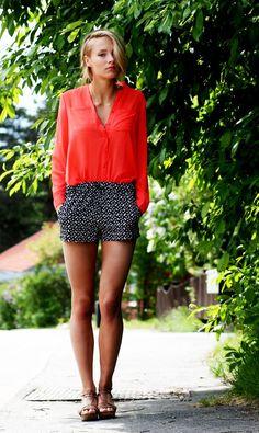 bright blouse // printed shorts
