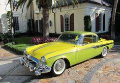 1955 Studebaker President Speedster - surprised but the car pulls of the two tone lemon/lime paint job.