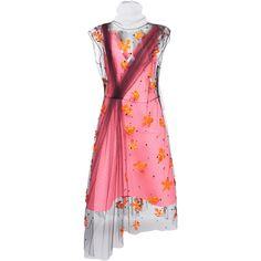Embellished Dress Ensemble | Moda Operandi (€4.820) ❤ liked on Polyvore featuring dresses, prada, embelished dress, pink tulle dress, pink pleated dress, embellished dress and tulle dresses