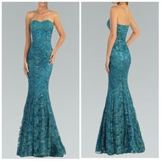 Gorgeous strapless sweetheart neckline column style long dress that features a stunning fully beaded on sequined flower motif fabric and mermaid skirt with train.