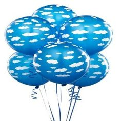 "Latex Educational Products - Cyan with White Clouds Balloons (6) Party Supplies - 11"" latex cloud balloons"