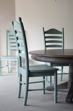very handsome ladderback chairs painted in sherwin williams 6485 Raindrop; at Knack