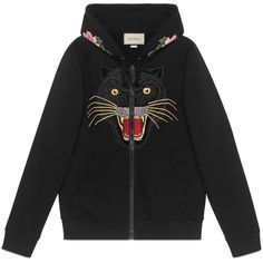 Embroidered Hooded Sweatshirt With Gucci Logo (6.270 BRL) ❤ liked on Polyvore featuring tops, hoodies, sweaters, black, gucci hoodie, patterned hoody, hooded sweatshirt, animal print top and print hoodie