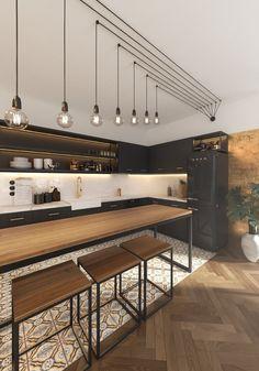 Interior design, Warsaw, Poland, www. Rustic Design, Industrial Design, Furniture Inspiration, Interior Design Kitchen, Home Kitchens, Townhouse, Stairs, Loft, Ceiling Lights