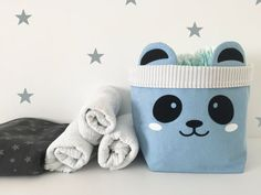 Small Baby blue Panda Storage Sack, Cotton Canvas Fabric Storage Bag, Nursery Decor Storage Bin, Kids interior Fabric Storage box