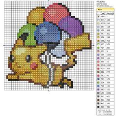 Pokemon - Pikachu with Balloons by Makibird-Stitching on DeviantArt Kawaii Cross Stitch, Pokemon Cross Stitch, Cross Stitch For Kids, Pikachu, Beaded Cross Stitch, Cross Stitch Embroidery, Cross Stitch Designs, Cross Stitch Patterns, Pokemon Craft