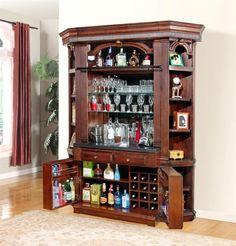Wellington 4 Piece Home Office Bookcase Library Wall With Desk In Vintage  Brown Mahogany Finish By Parker House